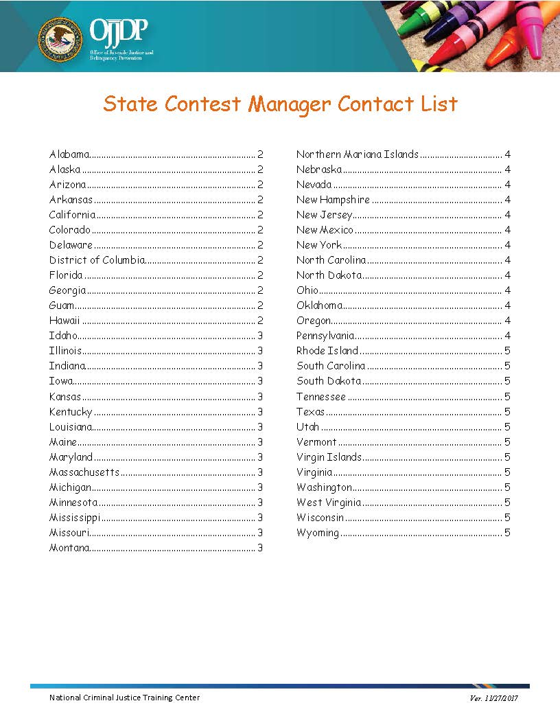 Poster Contest State Managers Contact List