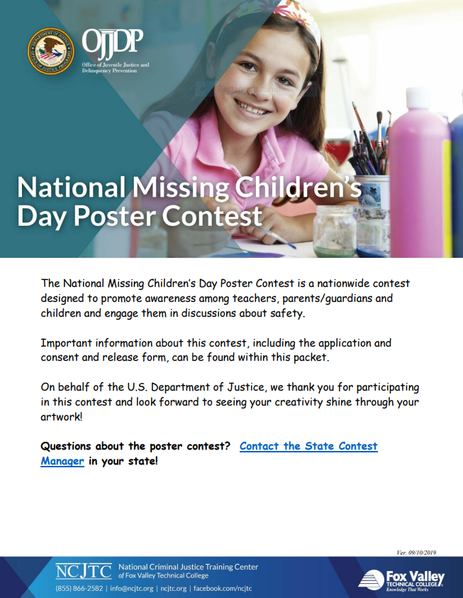 2020 Missing Children's Day- 37th Annual Poster Contest Packet