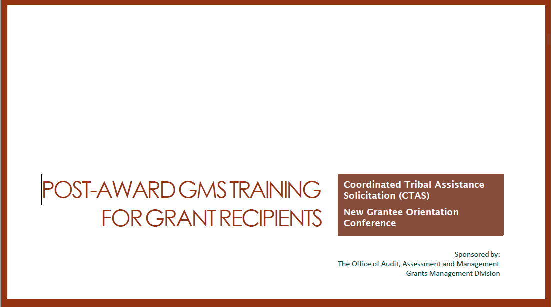 2019 CTAS Presentation: Post Award Grantee Version
