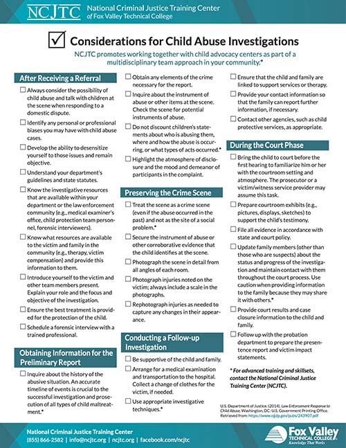 Checklist: Considerations for Child Abuse Investigations Image
