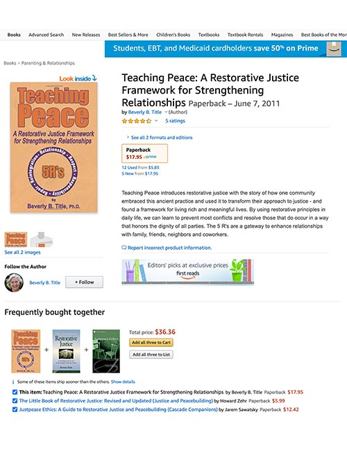 Teaching Peace: A Restorative Justice Framework for Strengthening Relationships - Amazon