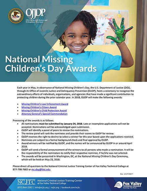 Missing Children's Day Award Packet