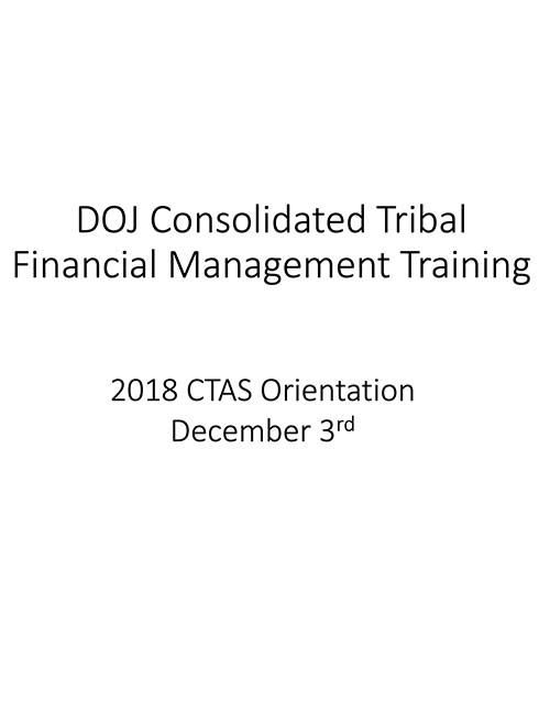 2018 CTAS Financial Management Orientation Session