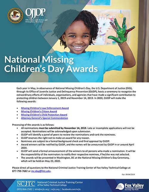 2020 Missing Children's Day Award Packet