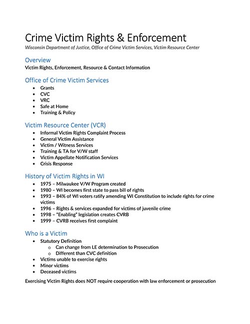 2019 WSVC Conference: Handout -Victims Rights