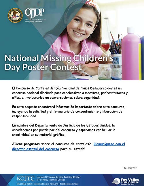 2020 Missing Children's Day- Poster Contest Packet- Spanish