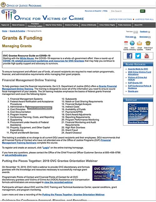 OVC Managing Grants - Online Training and Resources
