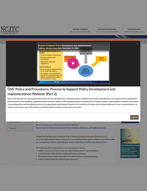 OVC Policy and Procedures: Process to Support Policy Development and Implementation Webinar (Part 2)