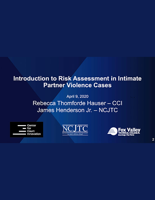 OVW Webinar Handout- Introduction to Risk Assessment for Intimate Partner Violence