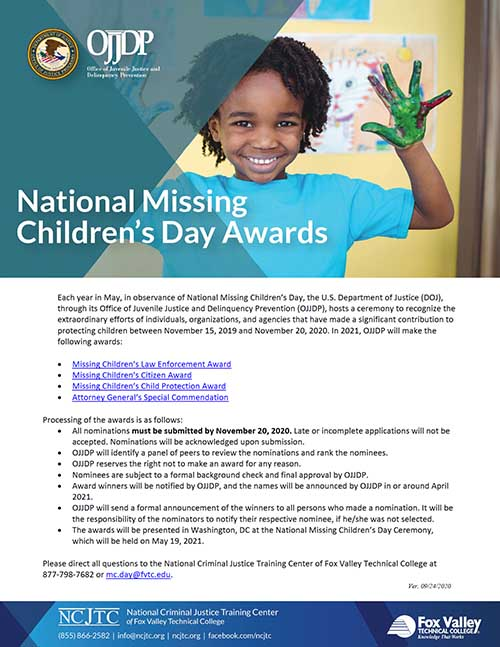 38th Annual National Missing Children's Day Award Packet