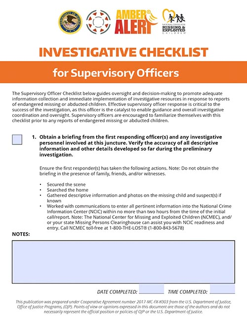 AMBER Investigative Checklist for Supervisory Officers