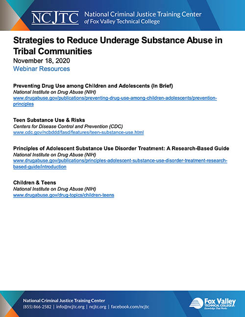 Strategies to Reduce Underage Substance Abuse - Handout